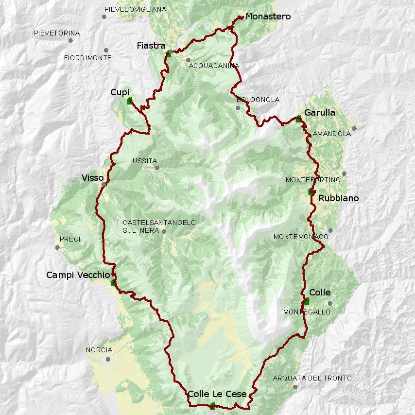 La mappa dell'intero percorso del Grande Anello dei Sibillini: 124 Km che si può fare in in7-9 tappe
